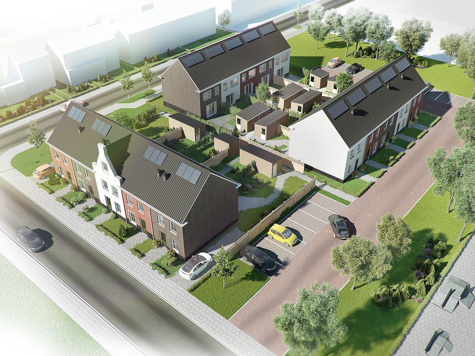 exterieur visualisatie DWanimations vogelvlucht Hollands wonen